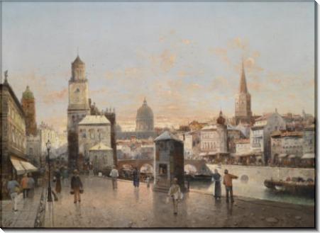 Городской пейзаж с каналом - Зиген, Август фон