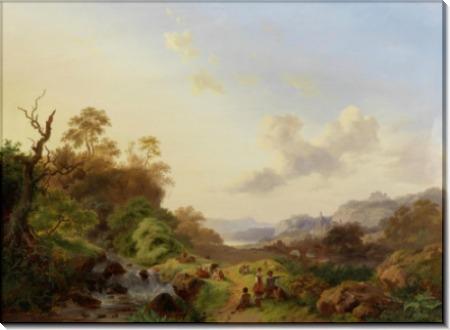 Летний пейзаж с пастухами у водопада - Круземан, Фредерик Маринус