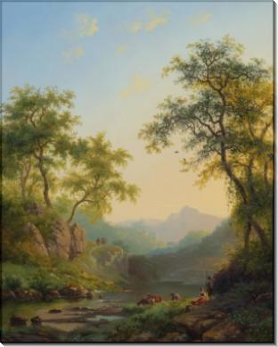 Пастухи со стадом у ручья - Круземан, Фредерик Маринус