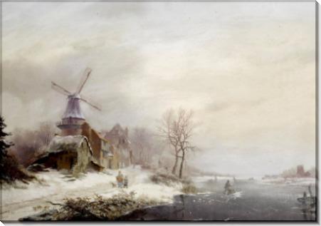 Зимний сельский пейзаж с мельницей - Круземан, Фредерик Маринус
