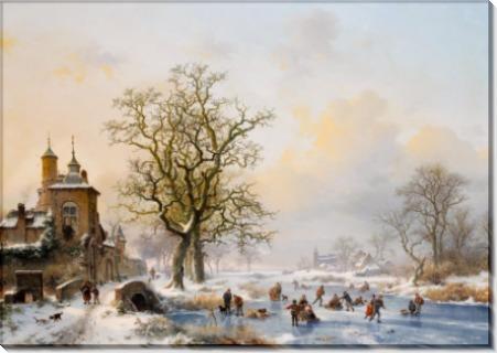 Зимний пейзаж с конькобежцами близ замка - Круземан, Фредерик Маринус