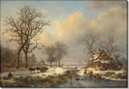 Зимний пейзаж с детьми, играющими на льду - Круземан, Фредерик Маринус