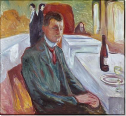 Автопортрет с бутылкой вина - Мунк, Эдвард