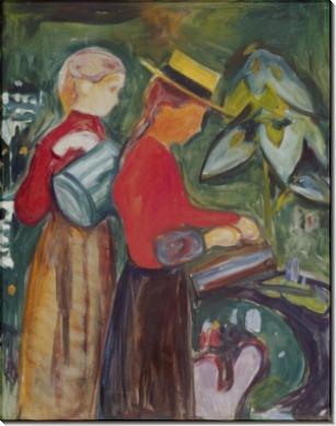 Женщины, поливающие цветы - Мунк, Эдвард