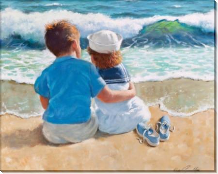 Мальчик и девочка на пляже - Сарноф, Артур