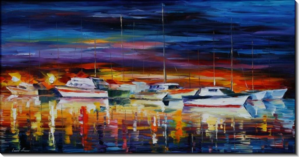 Яхт-клуб ночью - Афремов, Леонид (20 век)
