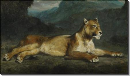Отдыхающая львица - Делакруа, Эжен