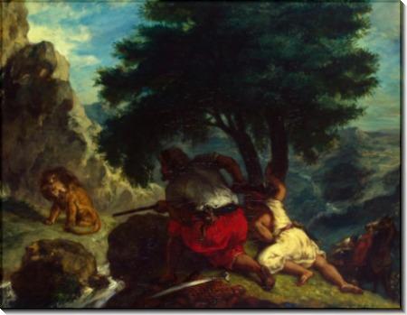 Охота на львов в Марокко - Делакруа, Эжен