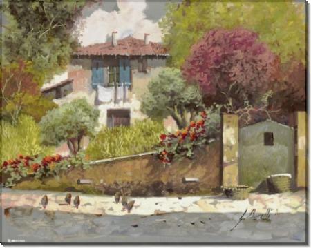 Пейзаж с курицами на дороге - Борелли, Гвидо (20 век)