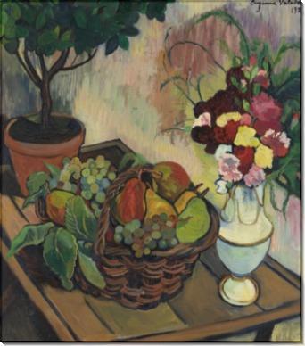 Натюрморт с букетом цветов и корзиной фруктов - Валадон, Сюзанна