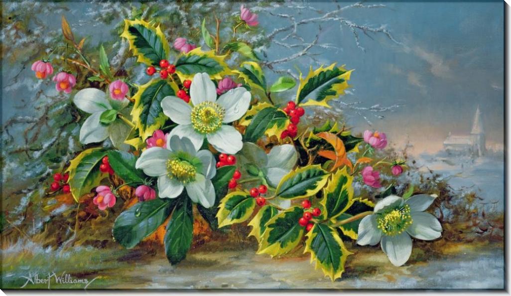 Зимние розы на фоне пейзажа - Вильямс, Альберт