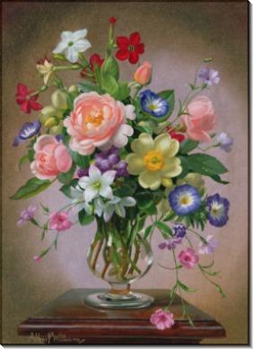 Розы, пионы и фрезии в стеклянной вазе - Вильямс, Альберт