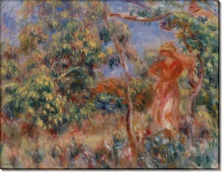 Женщина в красном на фоне пейзажа - Ренуар, Пьер Огюст