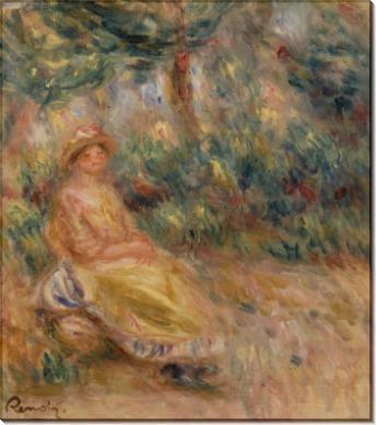 Женщина в розовом и желтом на фоне пейзажа - Ренуар, Пьер Огюст