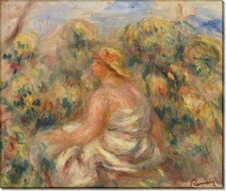 Женщина в шляпке на фоне пейзажа - Ренуар, Пьер Огюст
