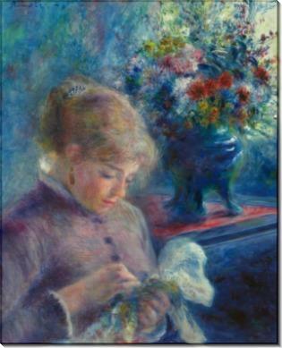 Молодая женщина за шитьем - Ренуар, Пьер Огюст