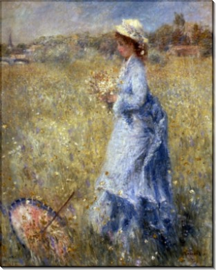 Женщина, собирающая цветы - Ренуар, Пьер Огюст