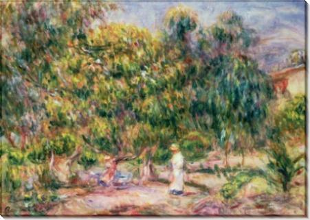 Женщина в белом в саду виллы Коллет - Ренуар, Пьер Огюст