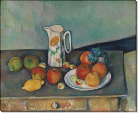 Кувшин молока и фрукты на столе - Сезанн, Поль