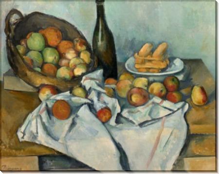 Натюрморт с бутылкой и корзинкой яблок - Сезанн, Поль