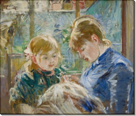 Дочь художницы Жюли с воспитательницей - Моризо, Берта