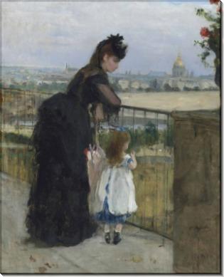 Женщина с ребенком на балконе - Моризо, Берта
