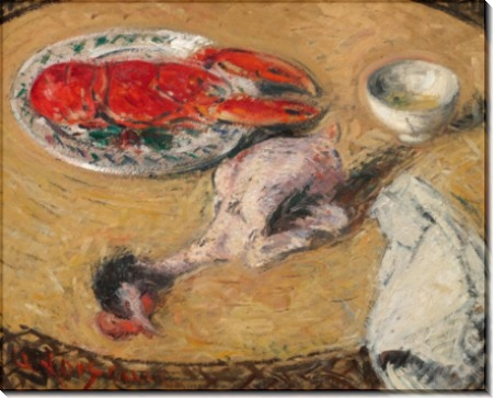 Натюрморт с омаром и курицей - Луазо, Гюстав