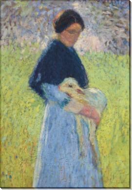 Пастушка с ягненком - Мартен, Анри Жан Гийом
