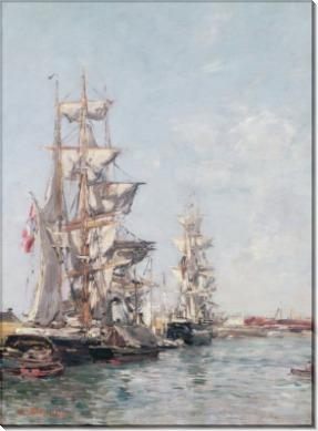 Трехмачтовый корабль в довильском порту - Буден, Эжен