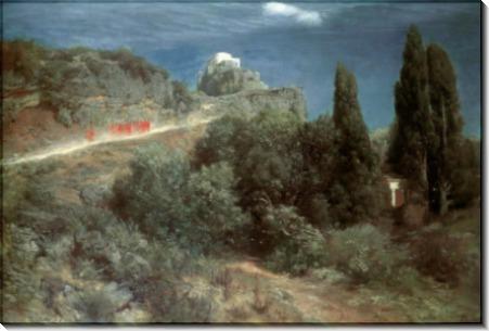 Горный пейзаж с замком и отрядом воинов - Бёклин, Арнольд