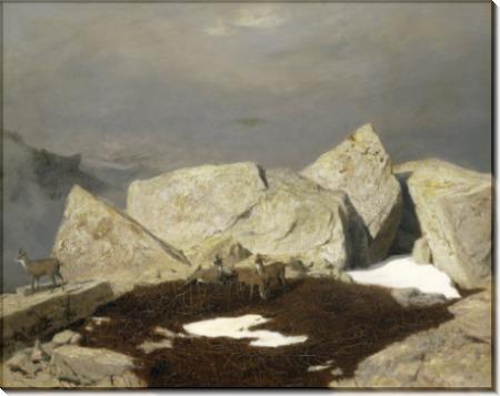 Горный пейзаж с сернами - Бёклин, Арнольд
