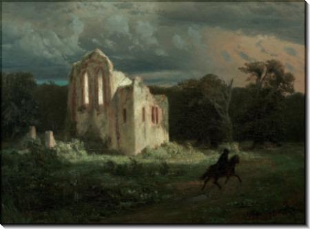 Лунный пейзаж с руинами часовни - Бёклин, Арнольд