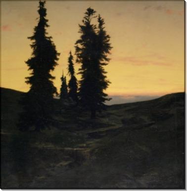 Пейзаж с елями - Бёклин, Арнольд