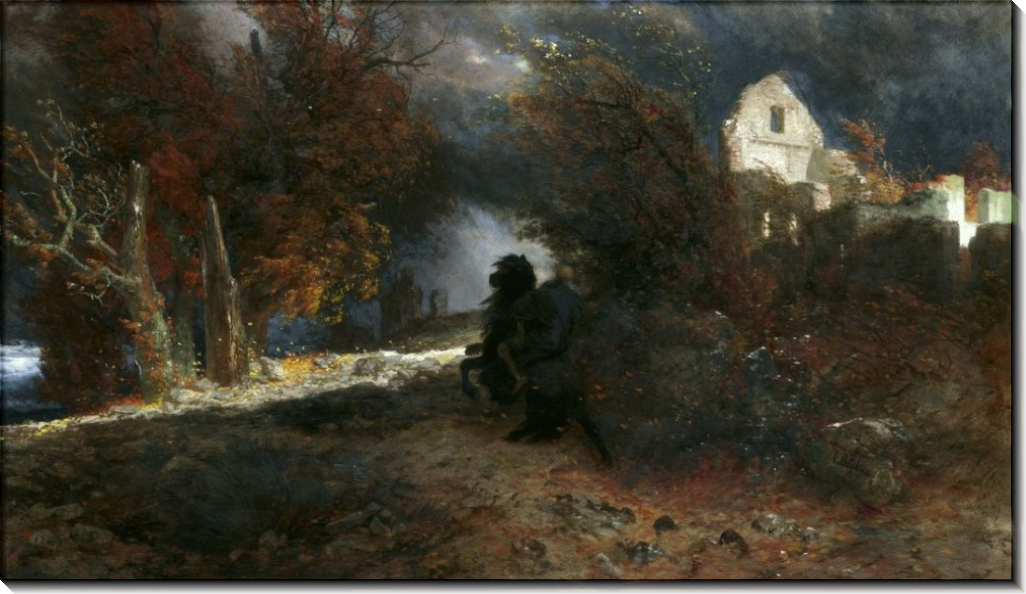 Осенний пейзаж со смертью - Бёклин, Арнольд