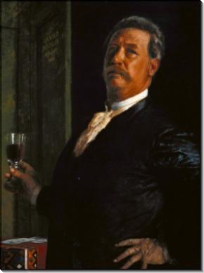 Автопортрет с бокалом вина - Бёклин, Арнольд