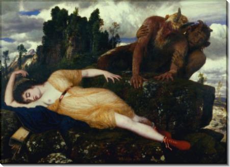 Спящая Диана и два фавна - Бёклин, Арнольд