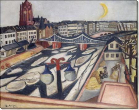 Городской пейзаж с льдинами на реке - Бекман, Макс