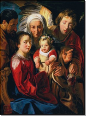 Святое Семейство с ангелом - Йорданс, Якоб