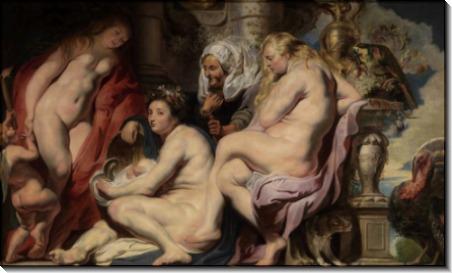 Дочери Кекропса находят младенца Эрихтония - Йорданс, Якоб