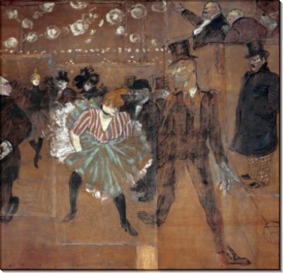 Гулю, танцующая с Валентином Дезоссе. Мулен Руж - Тулуз-Лотрек, Анри де