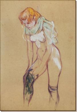 Женщина, одевающая колготки - Тулуз-Лотрек, Анри де
