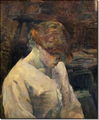 Рыжеволосая женщина в белой блузе - Тулуз-Лотрек, Анри де