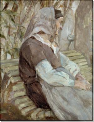 Старушка, сидящая на скамейке - Тулуз-Лотрек, Анри де