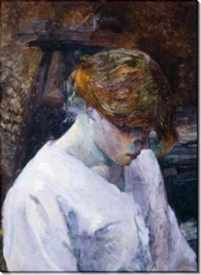 Рыжеволосая женщина в белом - Тулуз-Лотрек, Анри де