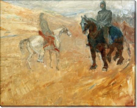 Сценка со средневековыми рыцарями - Тулуз-Лотрек, Анри де