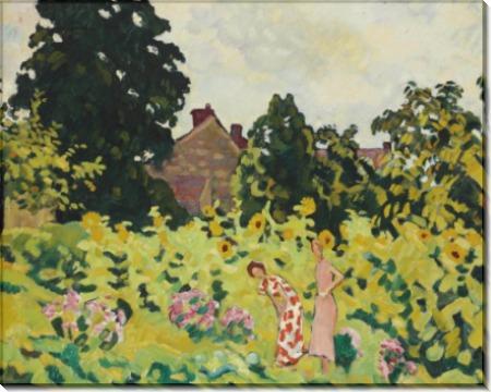 Женщины, собирающие цветы в саду - Вальта, Луи