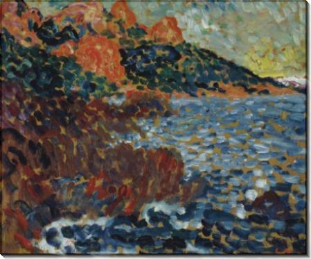 Красные скалы на берегу моря - Вальта, Луи