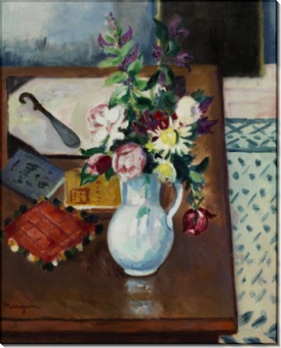 Столик с цветами в углу комнаты - Манген, Анри