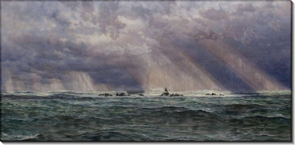 Морской пейзаж с бушующим морем и маяком - Бретт, Джон